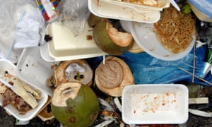 A pile of street food litter at Notting Hill Carnival