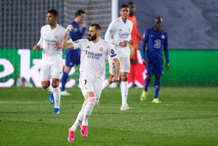 Karim Benzema celebrates equalising for Real Madrid in their semi-final first leg.