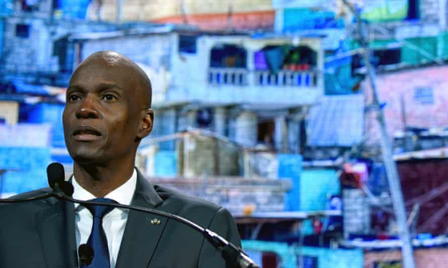 Jovenel Moïse speaking in New York in 2018. During his term in office inflation spiralled upwards and food and fuel became scarcer.