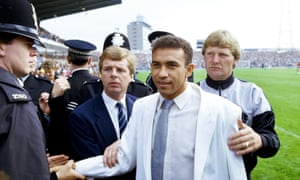Mirandinha is unveiled to Newcastle fans before their first game of the season in August 1987 after his £575,000 move from Palmeiras.