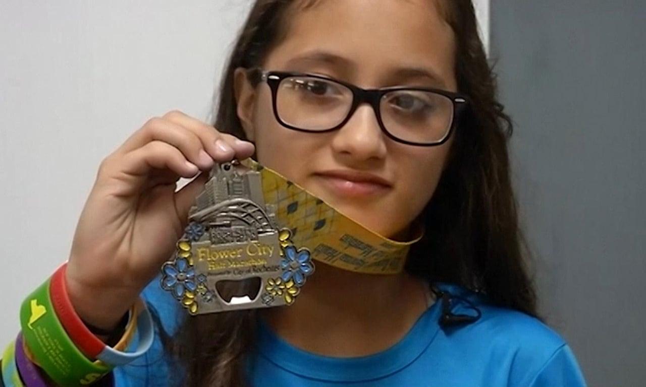 12-year-old girl tells how she accidentally ran a half-marathon – video