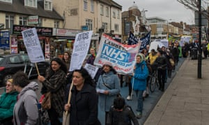 Protesters in Tooting, south-west London, on Saturday.