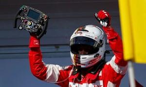 Ferrari's Vettel of Germany after his win.