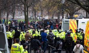 Anti-lockdown protest in Bristol on Saturday.
