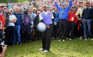 Tiger Woods hits photographer Mark Pain during the Ryder Cup at Celtic Manor.