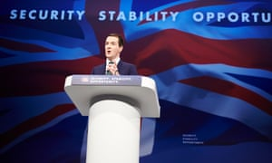 Chancellor George Osborne making his speech at the Conservative party annual conference at Manchester Central in 2015.