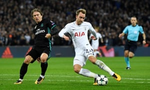 Tottenham's Christian Eriksen scores their third goal.