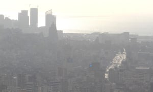 Smoggy skyline of Beirut in 2014