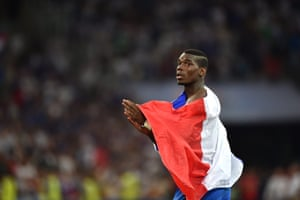 Paul Pogba applauds the fans at the end of the match.
