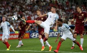 England come close again as Gary Cahill just fails to reach the ball.
