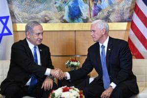 Vice President Mike Pence shakes hands with lsraeli Prime Minister Benjamin Netanyahu.