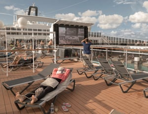 Passengers are asked to leave at least one deckchair between themselves and others on the sundeck