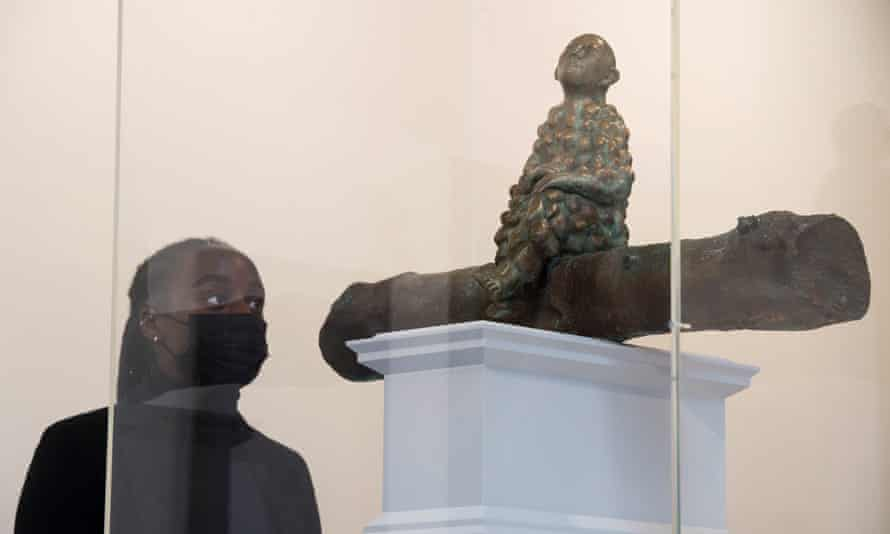 A National Gallery assistant looks at Bumpman by Paloma Varga Weisz, one of six artworks proposed for the Fourth Plinth at Trafalgar Square.