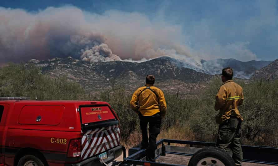 Firefighters look on as the Big Horn fire burns the Santa Catalina Mountains near Tucson.