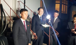 North Korea's chief nuclear negotiator Kim Myong-gil speaks to the media