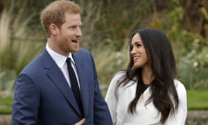 Prince Harry and Meghan Markle at a press call after their engagement was announced.