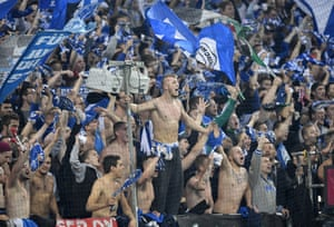 Schalke's supporters enjoying what they are seeing in Gelsenkirchen.