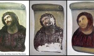 Restauração malfeita de um afresco de Elias Garcia Martinez