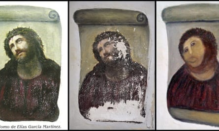 Botched restoration of an Elias Garcia Martinez fresco