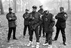 Public Enemy in Hyde Park, London, 1987 'Public Enemy were the support act on a bill with LL Cool J and Eric B & Rakim,' says Corio. 'This was their first morning in a foggy London and I persuaded them to go to the park. Their main concern was that they hadn't seen any McDonald's on their way from the airport so were worried about what they were going to eat. Without me asking, they started posing and making Black Power signs which somewhat bemused the old ladies walking their dogs that were passing by'
