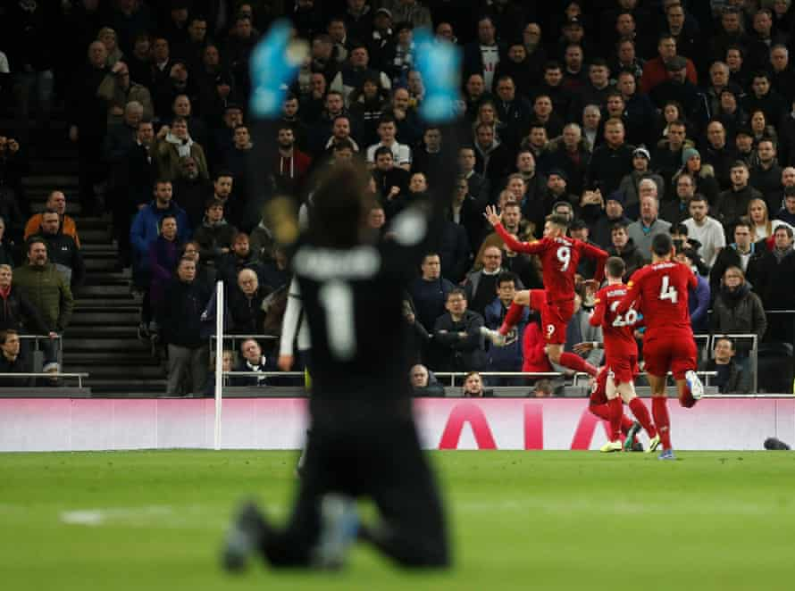Alisson reacts after Roberto Firmino scored the only goal at Spurs.