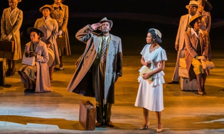 Stiff-backed pride in the face of prejudice ... Gershwyn Eustache Jr as Gilbert and Leah Harvey as Hortense in Small Island.