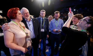 Jeremy Corbyn posing for pictures after speaking to members of the Royal College of Nursing in Liverpool.