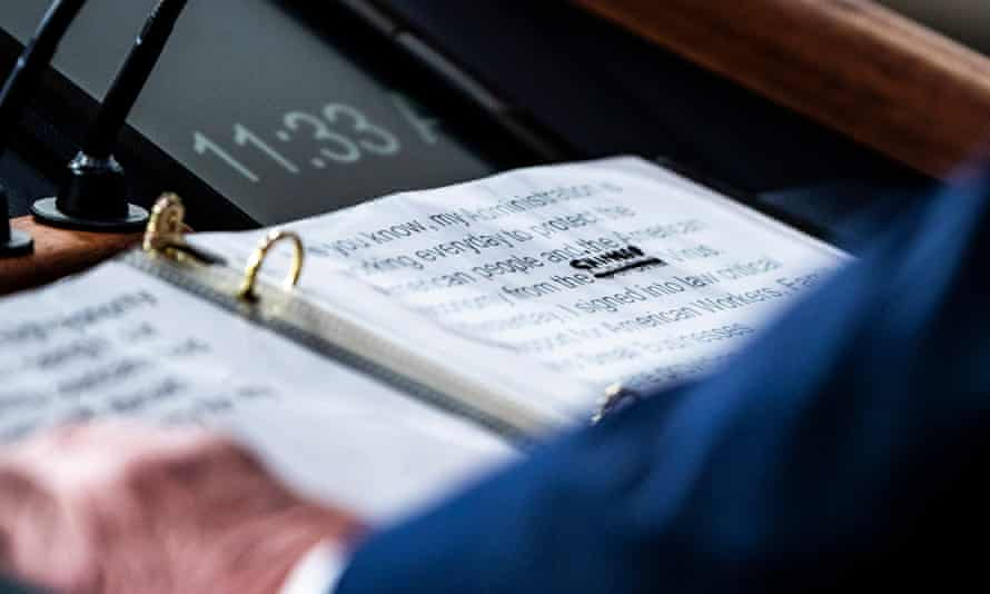 """A view of Donald Trump's notes show where """"corona"""" was crossed out and replaced with """"Chinese"""" during a White House coronavirus briefing on 19 March."""