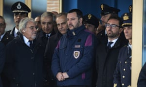 Matteo Salvini in a police jacket earlier this month at Ciampino airport, Rome.