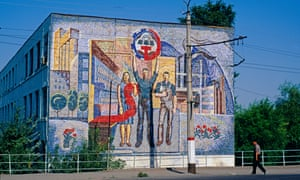 A Soviet mural in the centre of Osh, Kyrgyzstan.