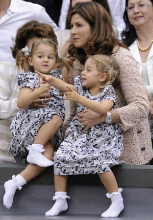 Roger Federer's wife Mirka with their twin daughters Myla and Charlene at Wimbledon in 2012