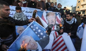 Palestinians in Rafah protest against the Middle East peace plan. 'The White House never expected the Palestinian leadership to accept this plan.'