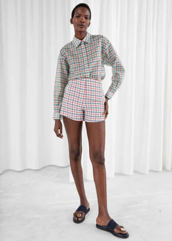 Silk blend check button down shirt, £79 and check high-waisted shorts, £49, Stories.com