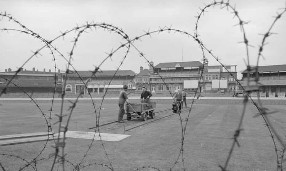 The Oval pitch is ringed with barbed wire in March 1970.