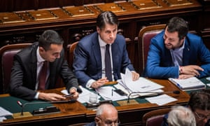 Di Maio, Conte and Salvini in the chamber of deputies