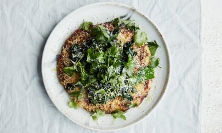 Anna Jones' potato, polenta and cheese pancake.