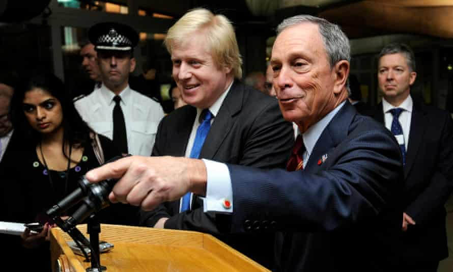 Boris Johnson (left) and Michael Bloomberg share a lectern at a press conference in London in 2010.