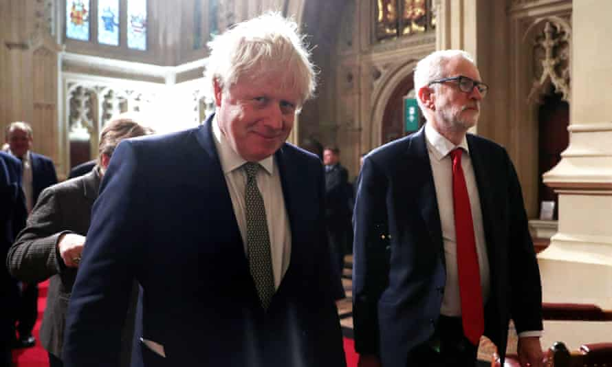 Boris Johnson (left) arrives for the state opening of parliament at the Houses of Parliament with opposition leader, Jeremy Corbyn.