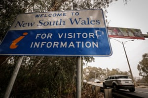 A welcome to NSW sign in Albury