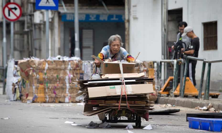 A cardboard collector in Macau's Santo Antonio district
