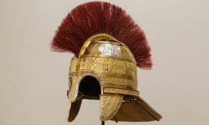 A reconstruction of a helmet found in the Staffordshire hoard