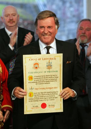 Veteran broadcaster Sir Terry Wogan honoured with the Freedom of Limerick city.