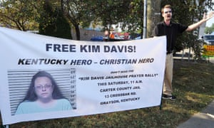 David Jordan, a member of Chirst Fellowship in North Carolina, preaches in support of the prayer rally at the Carter County Detention Center for Rowan County clerk Kim Davis.
