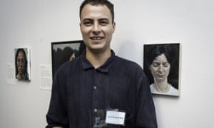 Henry Christian-Slane with his BP portrait award, which he won for the painting of his partner Gabi (right), at the National Portrait Gallery, London.