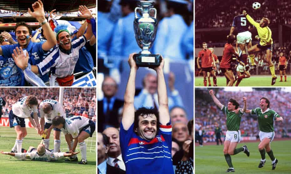 Greece fans in 2004; Michel Platini in 1984; Czechoslovakia v the Netherlands in 1976; Ray Houghton in 1988; Paul Gascoigne in 1996.