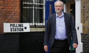 Labour Party leader Jeremy Corbyn leaves after casting his vote at a polling station in Islington, London.
