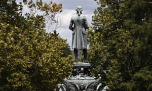 A statue of Thomas Jefferson overlooks the grounds of the University of Virginia, in Charlottesville.