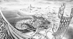 Paul Cureton (after Newton Fallis, c 1970), perspective view of Autopia Ampere, 2013, pencil and ink on paper.