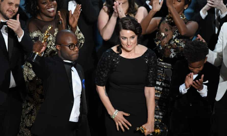 Barry Jenkins accepting the Best Film award for Moonlight.