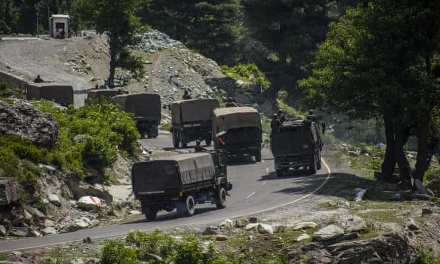 An Indian army convoy driving towards Leh, in Ladakh